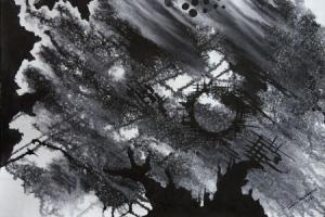 Black and White Abstract painting by me.